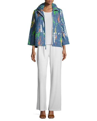 Paint Splash Zip-Front Denim Jacket, Tank & Pants , Petite