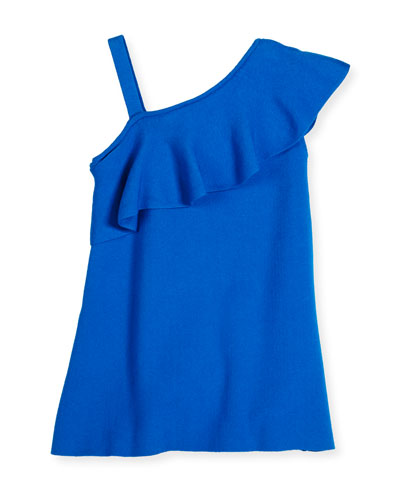 Asymmetric Ruffle-Trim Shift Dress