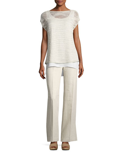Short-Sleeve Glistening Linen-Blend Layered Top and Matching Items