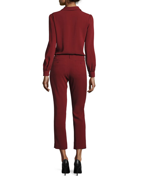 Crepe Cigarette Pants, Dark Red