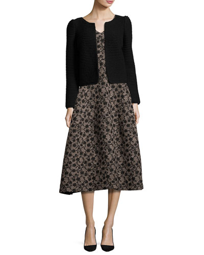Floral Jacquard Sleeveless A-Line Dress, Black/Gold and Matching Items