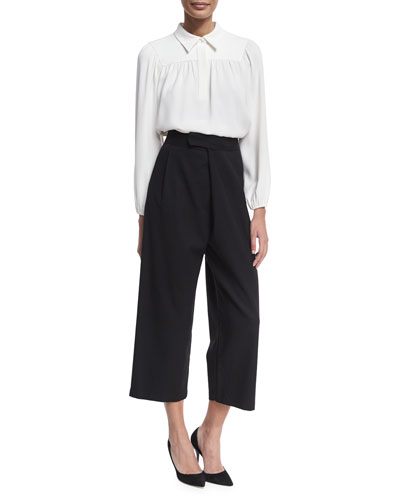 Single-Pleat Tailored Culottes, Black and Matching Items