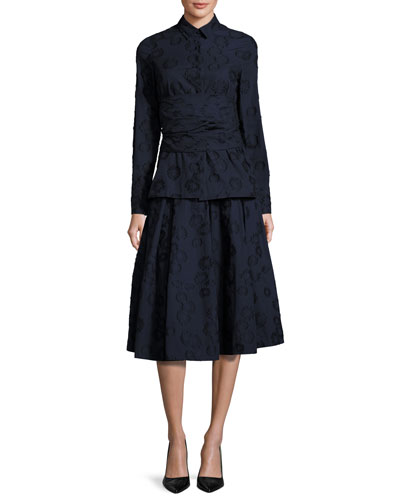 Floral Jacquard Box-Pleat Midi Skirt, Navy and Matching Items