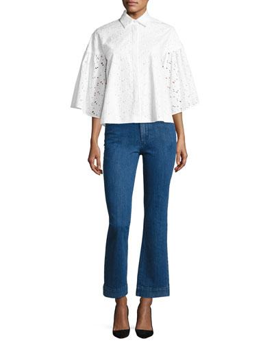 Eyelet Lace Flared-Sleeve Shirt, White and Matching Items