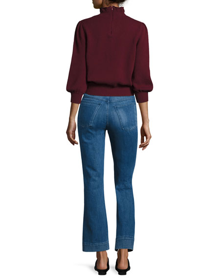 Peasant-Sleeve Ruffle-Neck Sweater