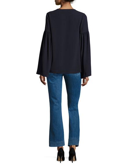 Crepe Tie-Front Peasant Blouse, Navy