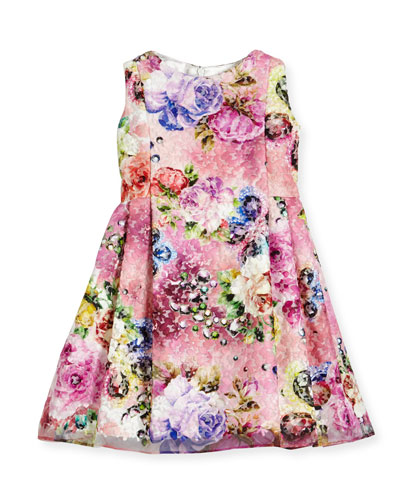 Sleeveless Printed Floral Lace Dress