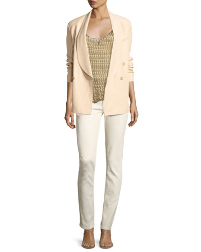 Nelson Shawl-Collar Double-Breasted Jacket, Beige and Matching Items