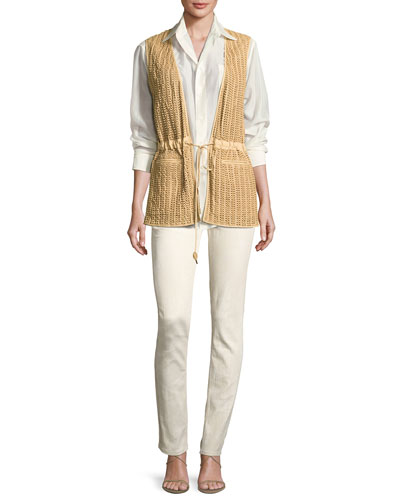 Damien Voile Long-Sleeve Blouse, Cream and Matching Items