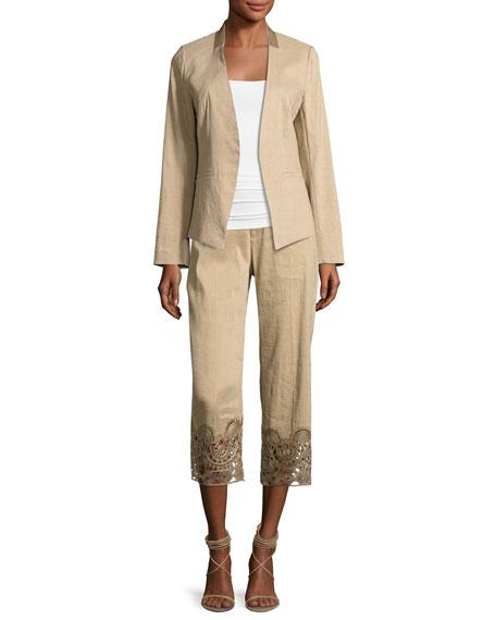 Kobi Halperin Oriana Lace-Hem Linen-Blend Ankle Pants