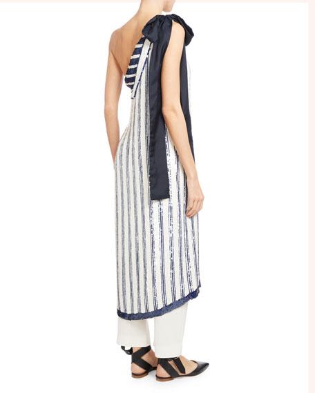 One-Shoulder Striped Silk Chiffon Top
