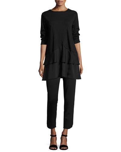 Interlock Tunic w/ Tiered Hem, Black and Matching Items