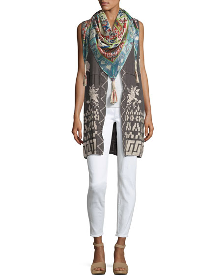 Letty Linen Embroidered Long Vest