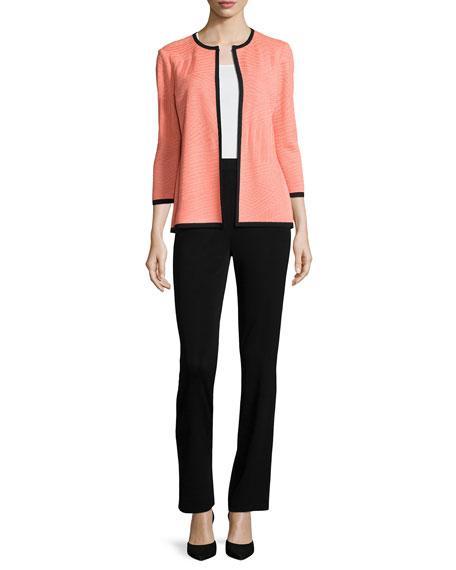 3/4-Sleeve Textured Open Jacket, Tart/Black
