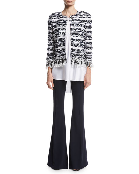 Adel Striped Fringe 3/4-Sleeve Jacket, White/Multi