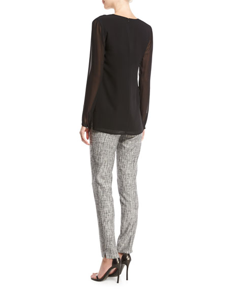 Abstract Twill Skinny-Leg Ankle Pants, Gray