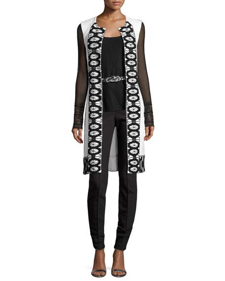 Sara Lace-Trim Knit Vest, White/Black