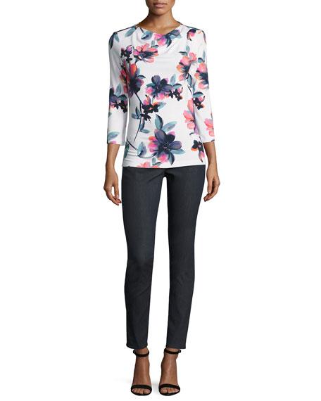 Naveena Floral Print Jersey 3/4-Sleeve Top, White/Multi