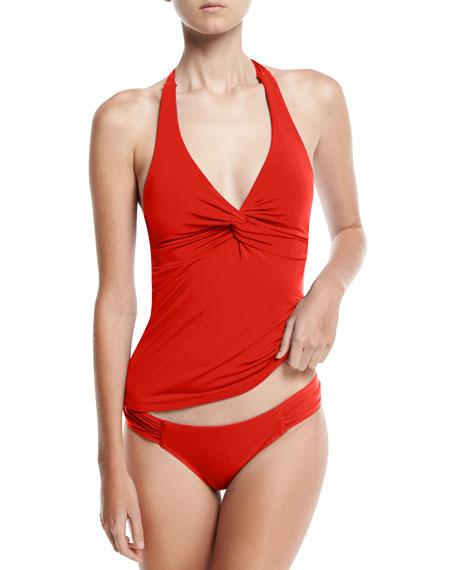 Jetset Gathered-Side Hipster Swim Bottom, Red