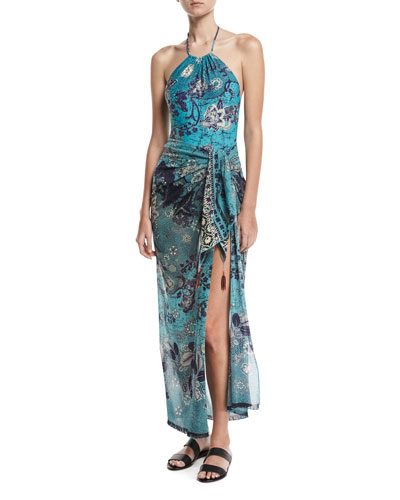 Floral-Print Pareo W/ Tassel Beads & Swimsuit