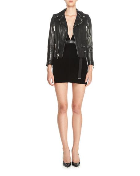 Strapless Sweetheart Velvet Mini Dress, Black