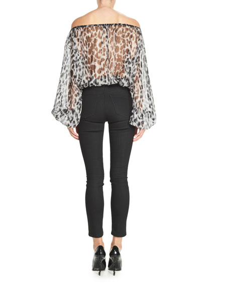 Wool-Blend Skinny Pants, Black