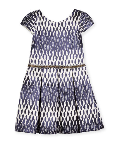 Cap-Sleeve Pleated Ikat Jacquard Dress