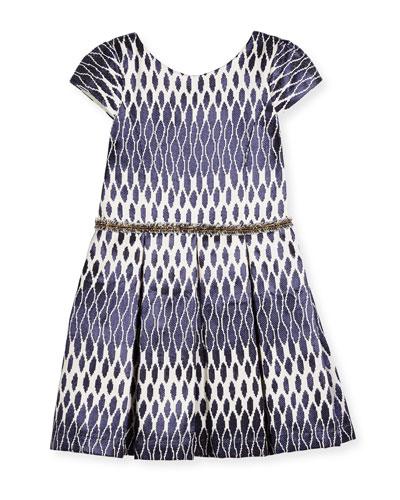 Cap-Sleeve Pleated Ikat Jacquard Dress