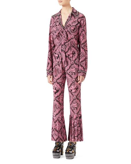 Romain Printed Silk Shirt, Pink/Black