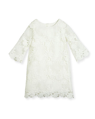 Nelly 3/4-Sleeve Floral Lace Shift Dress