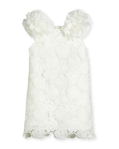 Sleeveless Floral Lace Pompom Dress