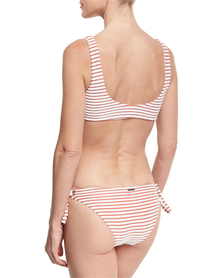 Striped Terry Lace-Up Swim Top, Pink