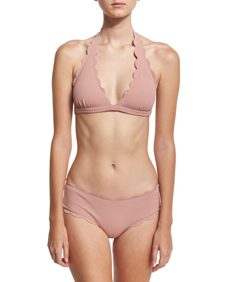 Spring Scalloped Boy-Cut Bikini Swim Bottom