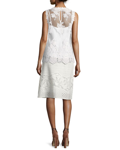 Mirabel A-line Cotton Eyelet Skirt, White