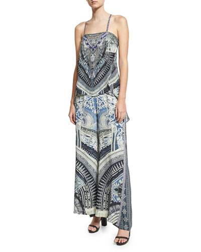 Double Layer Silk Flare Trouser, Blue Multicolor and Matching Items