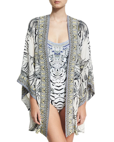 Embellished Silk Kimono w/ Belt and Matching Items