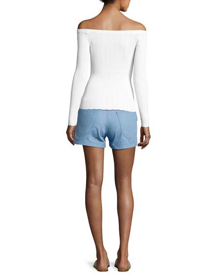 Kari Ribbed Off-the-Shoulder Pullover