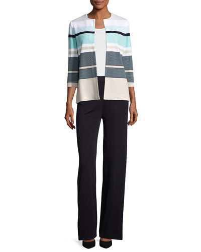 3/4-Sleeve Striped Textured Open Jacket, Multi and Matching Items