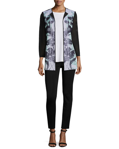 3/4-Sleeve Textured Floral-Print Long Jacket, White/Navy/Sea, Plus Size and Matching Items