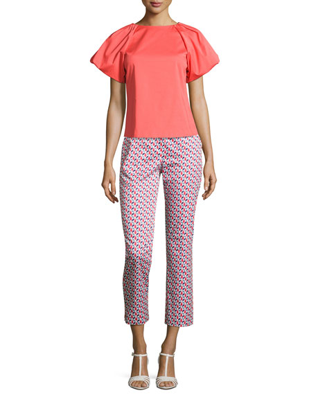 Pleat-Neck Puff-Sleeve Blouse, Pink