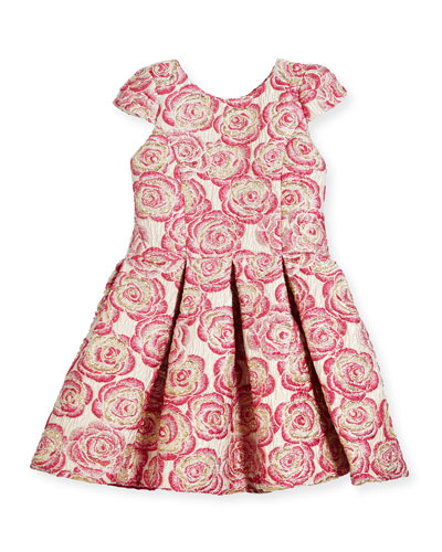 Pleated Metallic Rose Brocade Dress