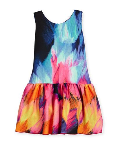 Sleeveless Flame Dropped-Waist Scuba Dress