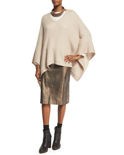 Paillette V-Neck Poncho, Sand and Matching Items