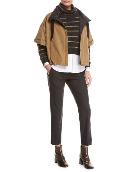 Cashmere Rib-Stripe Cropped Pullover