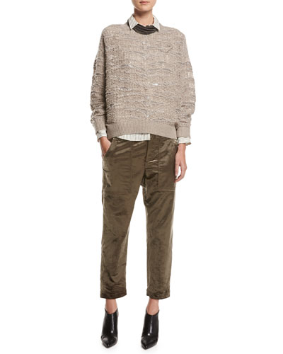 Animale Paillette Open-Knit Cashmere Sweater, Taupe and Matching Items