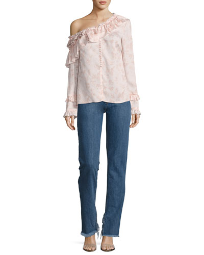 Floral Off-the-Shoulder Silk Ruffle Shirt, Pink and Matching Items