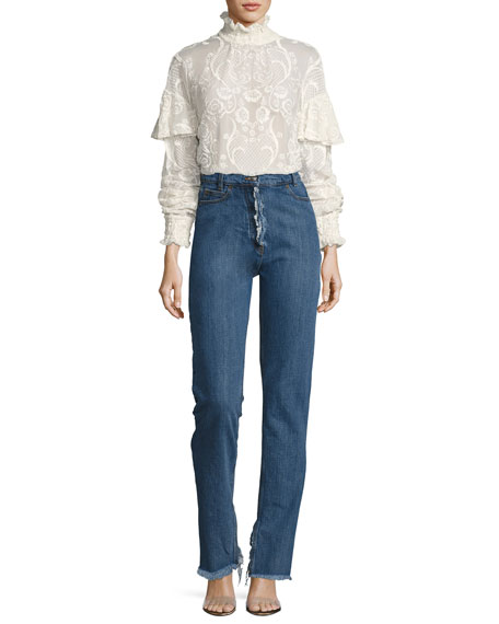 Vichy Embroidered Voile Top, Cream
