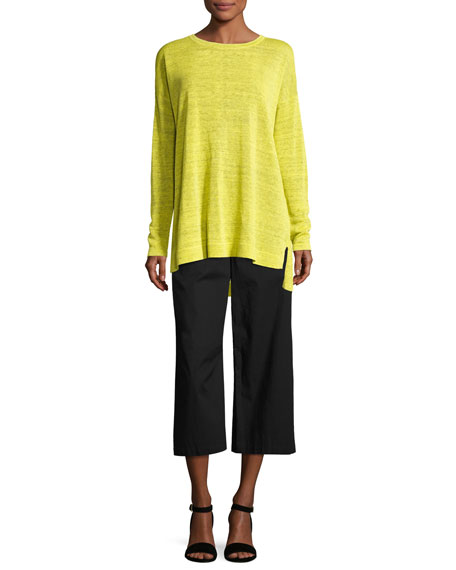 Fine Linen Crepe Knit Top
