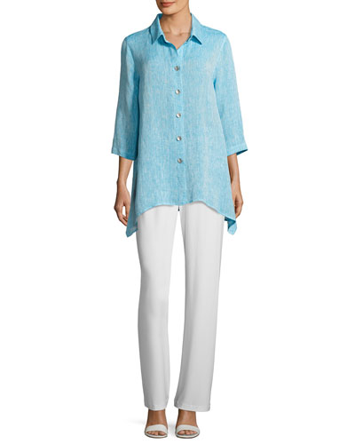 Chambray Linen Side-Fall Shirt, Plus Size and Matching Items