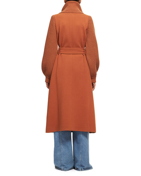 Silk Crepe Long-Sleeve Tie-Neck Blouse, Dark Orange